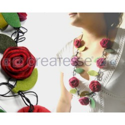 COLLAR FIELTRO 7 ROSAS MULTICOLOR