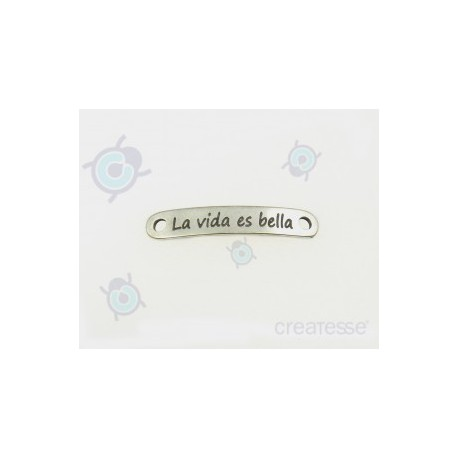 CHAPA 40X12 2T 3MM LA VIDA ES BELLA PLATA VIEJA