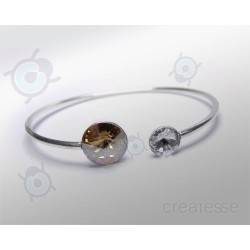 PULSERA RIVOLI 12 Y 8 MM GOLDEM SHADOW PLATA 925