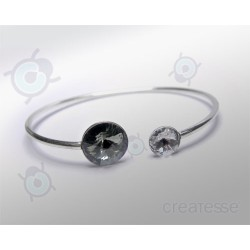 PULSERA RIVOLI 12 Y 8 MM BLACK DIAMOND PLATA 925