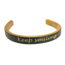 TIRA CORDON CUERO GRABADO 10X4,5MM AMARILLO- KEEP SMILING