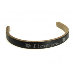 TIRA CORDON CUERO GRABADO 10X4,5MM VISON- I LOVE YOU