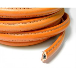 20 CM CORDON CUERO BORDON HUECO 10X5MM NARANJA
