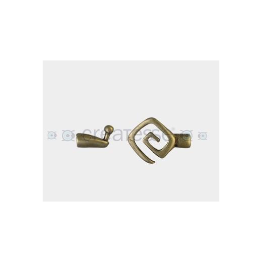 CIERRE METAL ESPIRAL CUADRADO 20MM (ID 4MM) BRONCE ANTIGUO