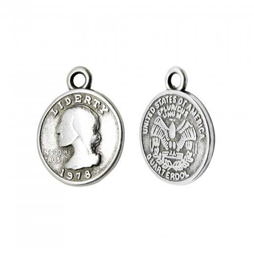 COLGANTE ZAMAK METAL MONEDA LIBERTY 13MM PLATA VIEJA
