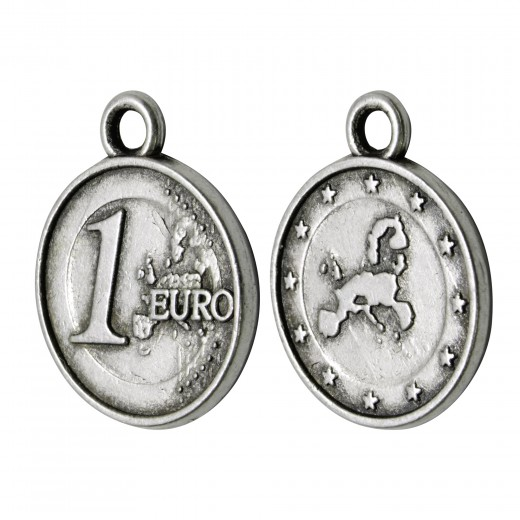 COLGANTE ZAMAK MONEDA EURO 15MM PLATA VIEJA