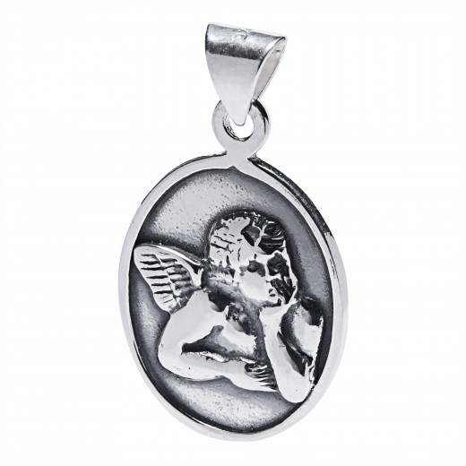 MEDALLA PLATA ANGEL GUARDA 13 MM
