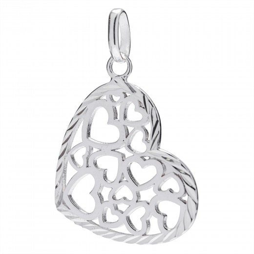 COLGANTE PLATA CORAZON FILIGRANA 20X17MM DIAMANTADA