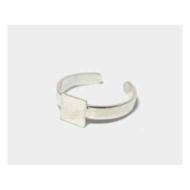 ANILLO METAL BASE CUADRADA 6MM PLATA BRILLANTE