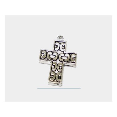 COLGANTE METAL CRUZ LATINA 23X16MM PLATA VIEJA