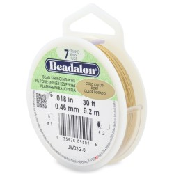 CORDON ACERO 7-018 DORADO BRILLANTE (0,46MM) 9,2M BEADALON CARRETE