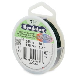 CORDON ACERO 7-018 VERDE METALICO (0,46MM) 9,2M BEADALON CARRETE