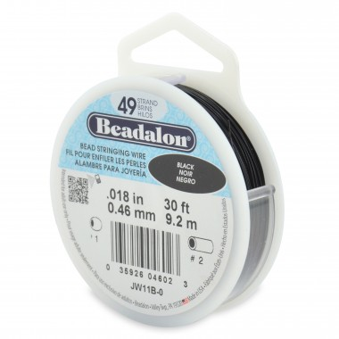 CORDON ACERO 49-018 NEGRO (0,46 MM) 9,2 M BEADALON
