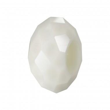 RONDELLA CRISTAL FACETADA 10X14MM TALADRO 5MM WHITE ALABASTER