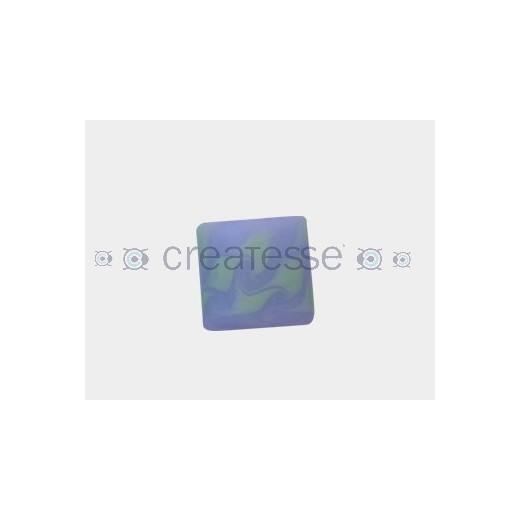 CRISTAL BRECHA CUADRADO 21MM (ID 3MM) CELESTE-VERDE