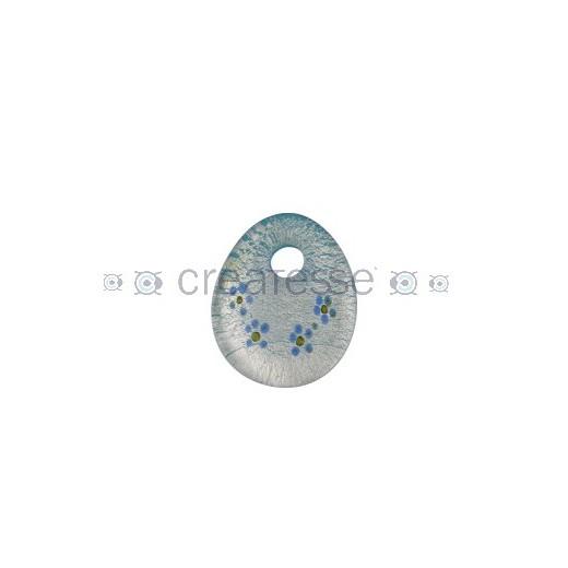 OVAL CRISTAL PLANO FLORES 39X37 CELESTE