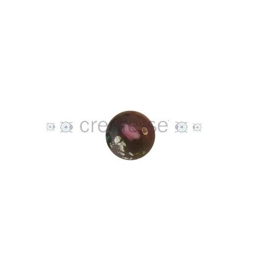 CRISTAL BOLA 14MM (ID 1,5MM) BASE PLATA Y FLORES GRANATE