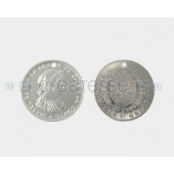 MONEDA ACERO 1 TALADRO 24MM ISABEL II