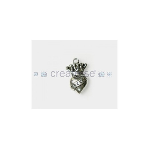 COLGANTE ZAMAK CORAZON CORONA ANGEL ROCK 30MM PLATA VIEJA