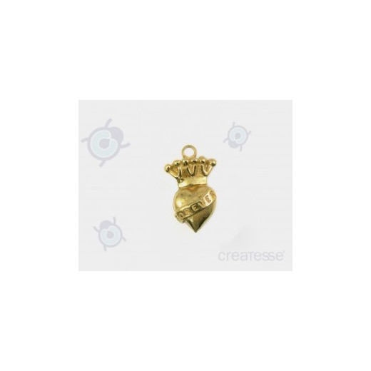 COLGANTE ZAMAK CORAZON CORONA ANGEL ROCK 30MM DORADO BRILLAN