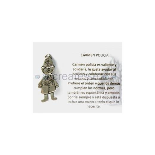 COLGANTE ZAMAK CARMEN POLICIA 50MM PLATA VIEJA