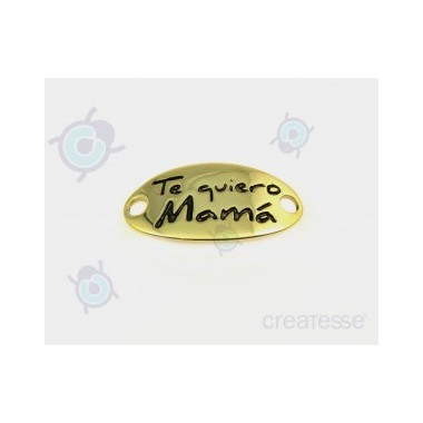 CHAPA 38X20 2T 4MM TE QUIERO MAMA DORADO BRILLANTE