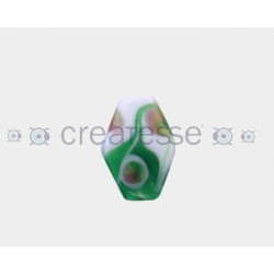 CRISTAL DECORADO ROMBO PLANO 29X29 (ID 3MM) VERDE-BLANCO