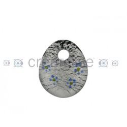OVAL CRISTAL PLANO FLORES 39X37 NEGRO