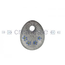OVAL CRISTAL PLANO FLORES 39X37 ROJO