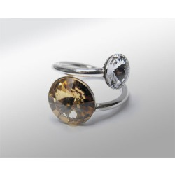 SORTIJA RIVOLI 12 Y 8MM CRISTAL GOLDEN SHADOW PLATA 925
